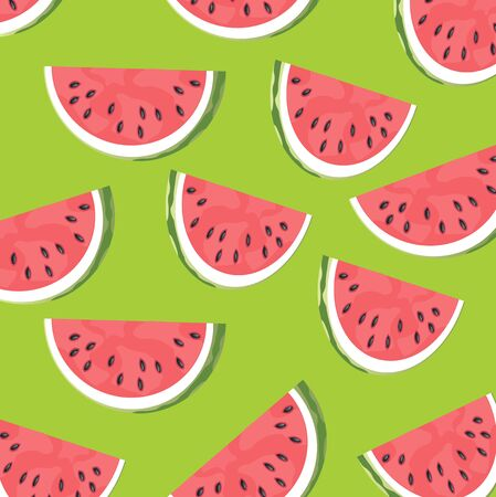Cut slice of the ripe watermelon on green background Ilustração