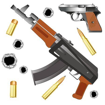gun holes: Automaton and gun with patron vector