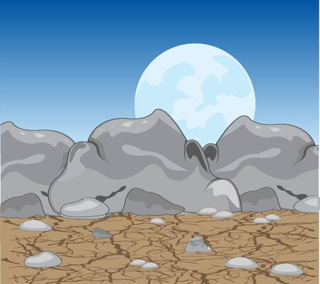 parched: Stone desert at moon in the night