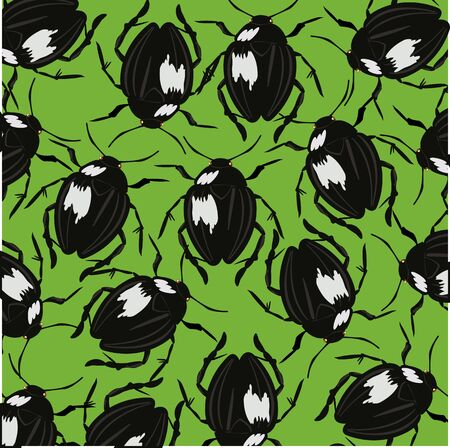 insulated: Bugs on green background Illustration