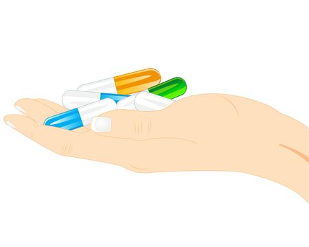 preventive: Capsules of the tablets on palm of the person on white background Stock Photo
