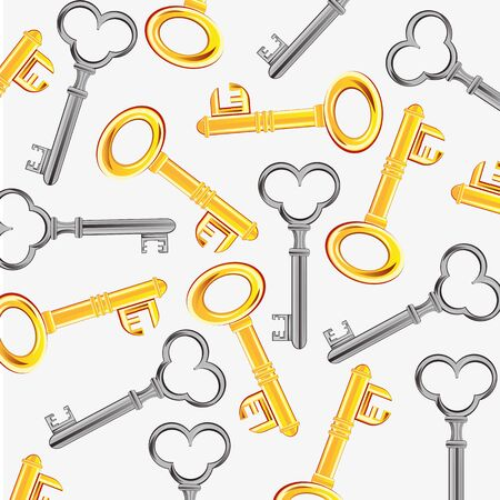 key hole: Keys from doors from gild and metal on white background Illustration