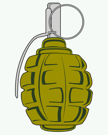 Weapon grenade on white illustration.