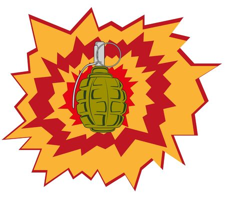 cartoon bomb: Blast manual garnets on white background is insulated Illustration