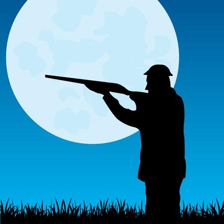 달에서 사냥꾼의 실루엣 일러스트