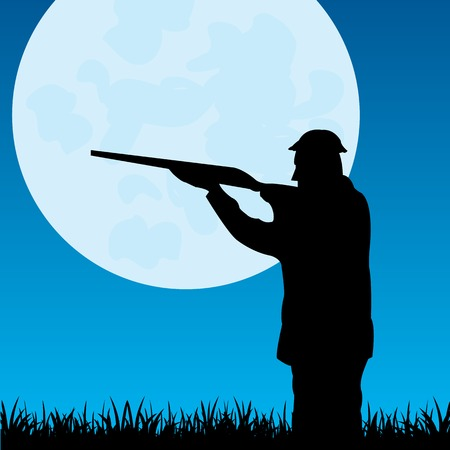 Silhouette of the huntsman at moon