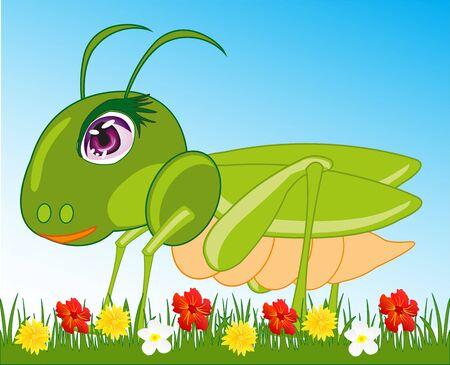 Green grasshopper cartoon on grassy field with flowers Illustration