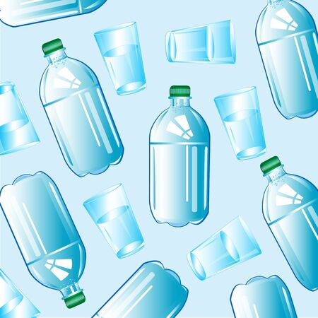 Clean drinking water in plastic bottle and glass. Illustration