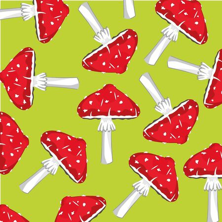 Mushrooms fly agarics on green background is insulated