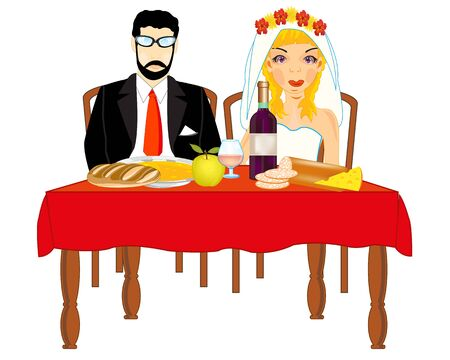 Bridegroom and bride at the table