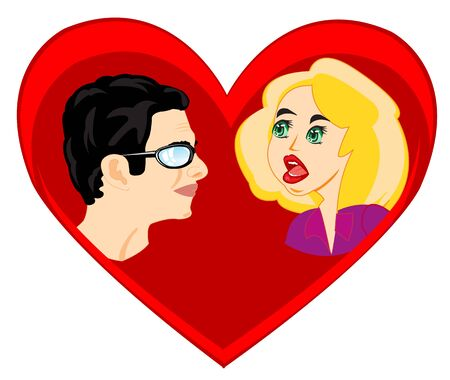 Mans and woman on background red heart Illustration