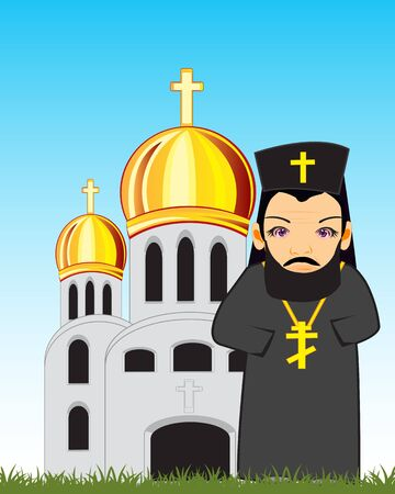 Mosque and priest icon. Illustration