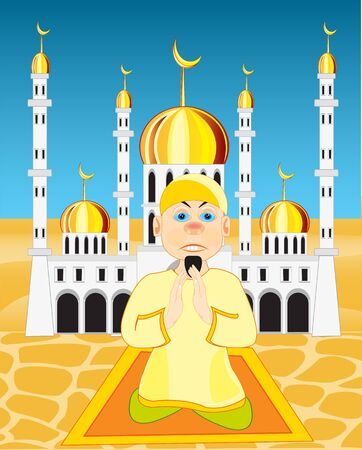 Man praying in a mosque. Illustration