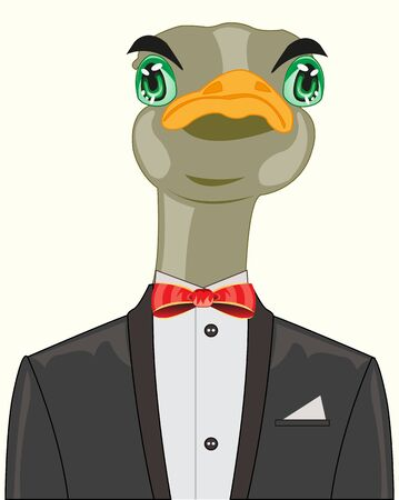 Ostrich in suit.