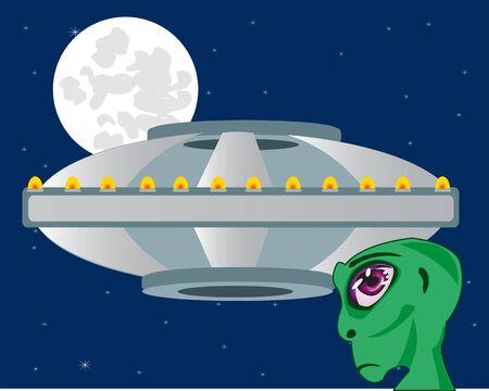Flying plate and stranger on moon sky. Illustration