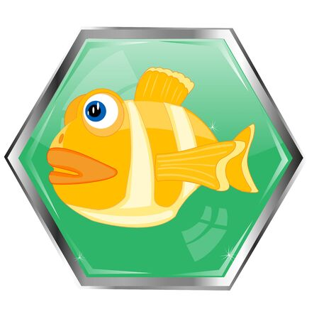 Astrological sign of the zodiac fish on button Illustration