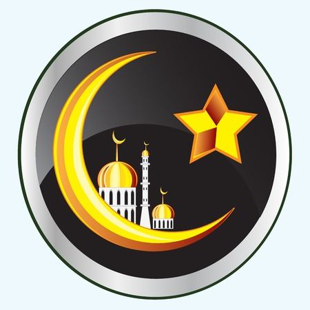 Symbol of the Islam on button Illustration