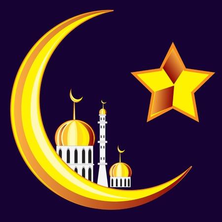 Symbol of the islam on black.Vector illustration Illustration
