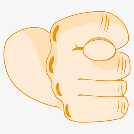 They Are Compressed fist of the person showing obscene gesture fig on a white background.