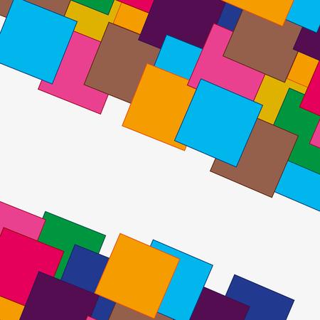 Fond décoratif coloré de divers carrés de couleur sur blanc. Banque d'images - 87442329