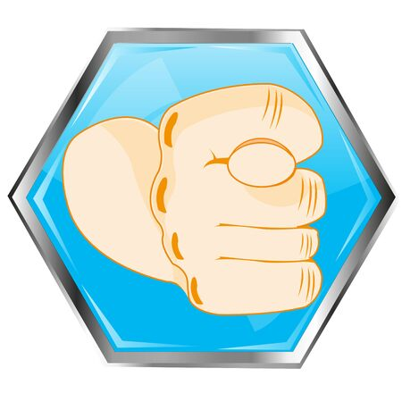 Indecent gesture by hand fig on button of the blue colour