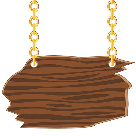 Illustration of an old wooden sign suspended on chains.