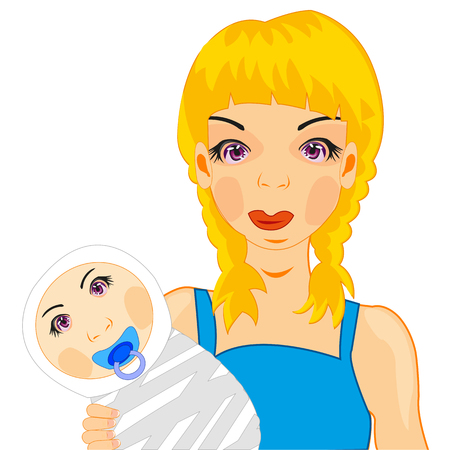 Mother and child illustration.