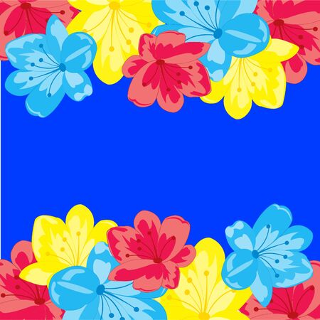 Colorful flowers border.