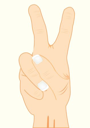 Gesture showing of two fingers sign, isoalted on white