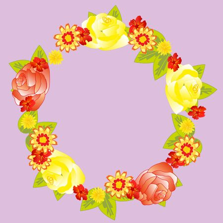 Wreath from flower and foliages Illustration