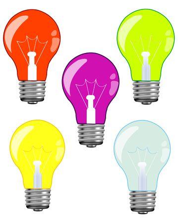 Colour light bulbs Illustration