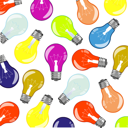 Much varicoloured light bulbs on white background is insulated Illustration