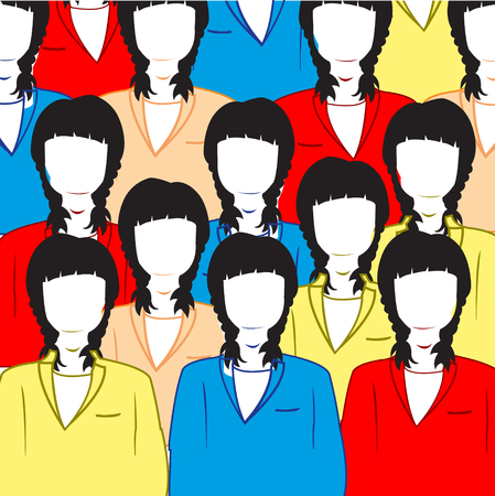 Ensemble of women in varicoloured suit