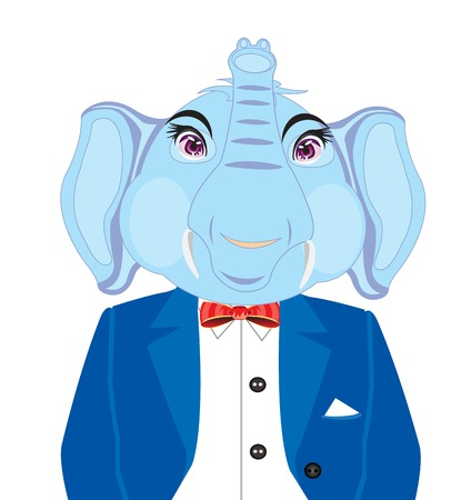 Cartoon of the elephant in suit on white background insulated