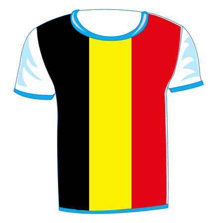 T-shirt flag to belgium on white background is insulated
