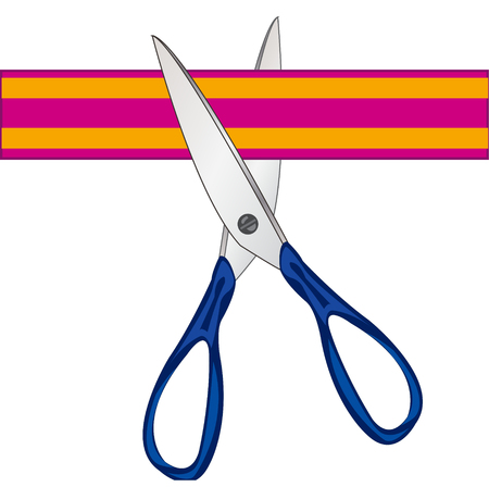 Scissors cutting tape on white background is insulated Illustration