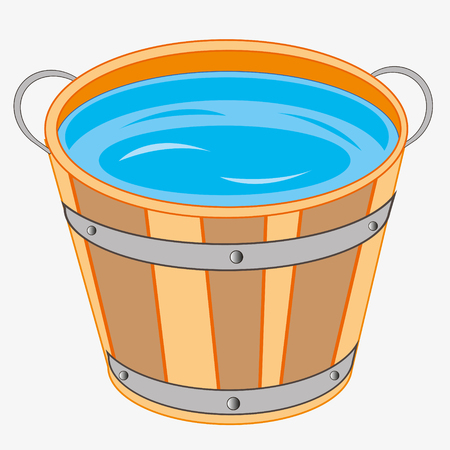 Pail with water on white background is insulated