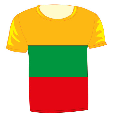 Flag state lithuania on cloth on white background is insulated