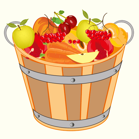 Bucket with fruit and berry on white background is insulated Иллюстрация