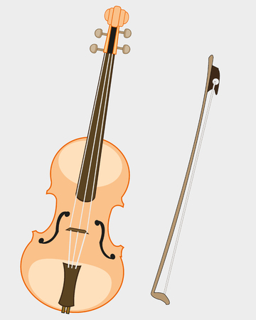 Music instrument violin and joining Illustration