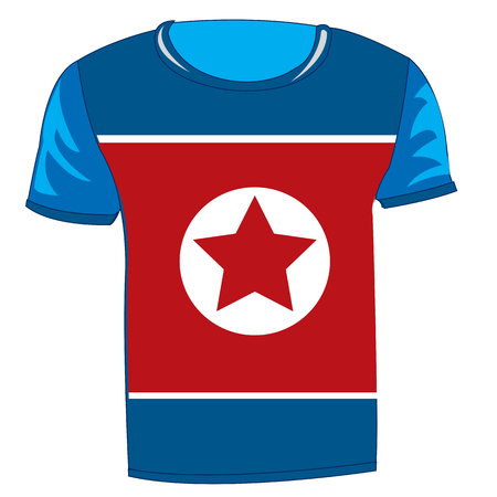 T-shirt with flag of the Democratic People's Republic of Korea 일러스트