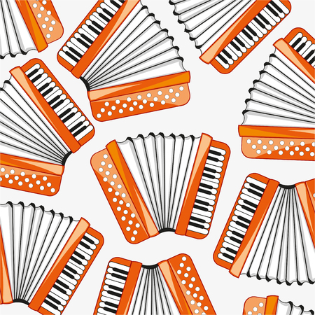Music instrument accordion decorative pattern Illustration