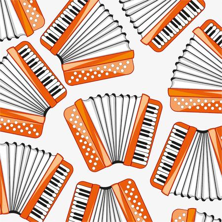 Music instrument accordion decorative pattern Stock Illustratie