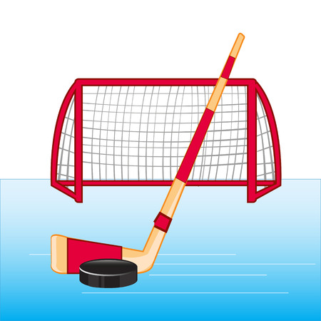 Accessories for play hockey illustration. Ilustrace
