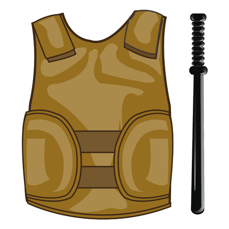 Defensive waistcoat and bat Illustration