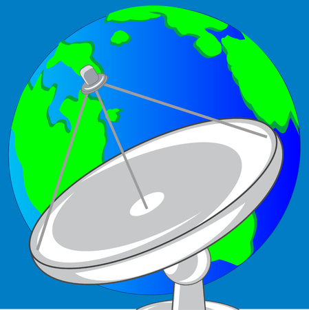 Satellite dish for transceiving the signal and planet land