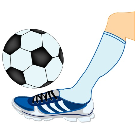 Leg of the soccer player with ball Illustration