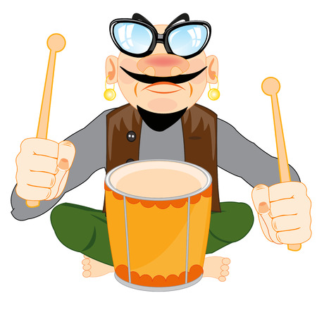 Musician playing with drum vector illustration.