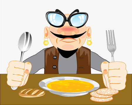 Man eating for meal with fork and spoon illustration.