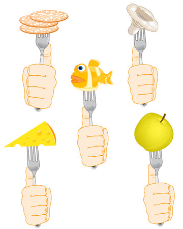 Products of the feeding on fork in hand on white background